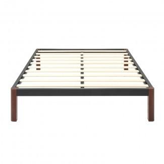 Marco de cama con plataforma de metal y listones de madera Caoimhe