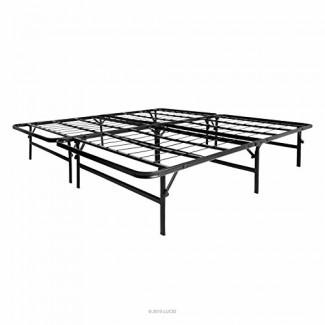LUCID LU22QQHR Marco de cama de plataforma de metal plegable y base de colchón - Soporte fuerte y resistente - Silencioso sin ruido