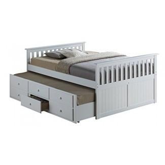Broyhill Kids Marco Island Cama de capitán completa con nido, Cama blanca de tamaño completo con nido de dos camas, Alternativa de litera, ideal para Sleepovers, Underbed Storage / Organization