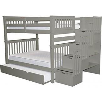 Literas Bedz King Stairway Full Full Full con 4 Cajones en los escalones y un nido completo, gris