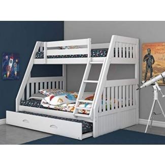 Litera de muebles World Discovery World con litera completa con cama nido blanco
