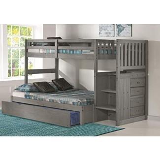 Discovery World Furniture Twin de carbón sobre la cama de escalera completa con nido