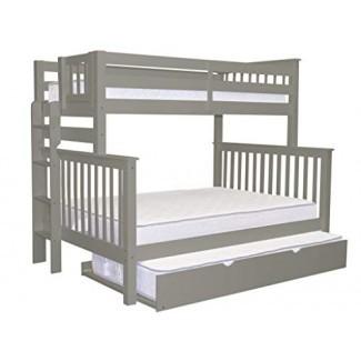 Literas King Bedz King Twin sobre cama Missi completa en estilo con escalera de extremo y una cama nido doble, gris