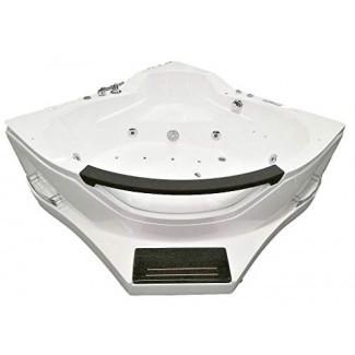 Bañera para 2 personas blanca Bañera de hidromasaje con chimeneas empotrada, esquina, ventana, 16 chorros de masaje, calentador incorporado, radio FM, bañera de hidromasaje Bluetooth Modelo SYM084A-sds