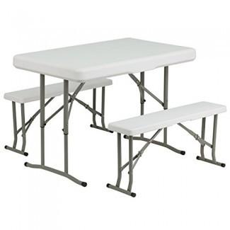 Juego de mesa y banco plegables de plástico Flash Furniture