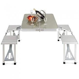 Mesa de picnic plegable de aluminio Giantex Mesa de camping portátil con maleta para exteriores con banco de 4 asientos