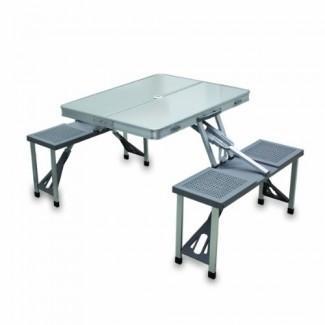 Picnic Time Mesa de picnic plegable portátil con capacidad para 4