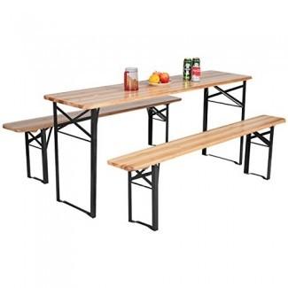 """Giantex Mesa de cerveza plegable portátil de 3 piezas de 70 """"con juego de asientos Mesa de picnic superior de madera para patio al aire libre Actividades Uso del jardín, Altura de la mesa de 30 """""""