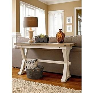 Muebles universales 128816 Habitaciones Consola de hojas abatibles, terraza gris y lino lavado