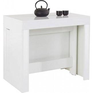 Muebles.Agencia Extensible de ahorro de espacio transforma desde una consola De escritorio a una mesa de comedor grande, con capacidad para diez personas