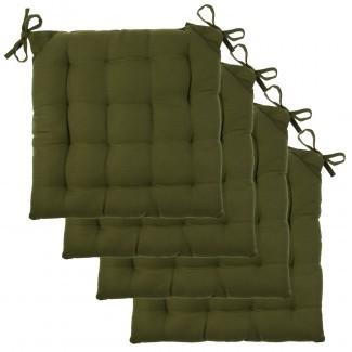 Juego de almohadillas para silla de 4 piezas Asiento acolchado de lona de algodón suave con mechones