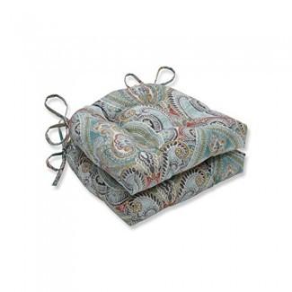 Almohada perfecta al aire libre | Cojín de silla reversible Pretty Witty Reef para interiores (juego de 2), azul 16 X 15.5 X 4
