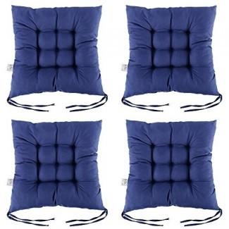 """Scorpiuse 4 PCS Almohadillas antideslizantes para silla con lazos Cojines de asiento blando de 15 """"x15"""" Cojín de tatami relleno de algodón perlado engrosado y transpirable para comedor Sala de estar Oficina Silla Den Wicker (15 """"x15"""", azul marino)"""