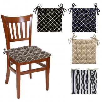 Almohadillas de silla reversibles para interiores de 4 piezas con lazos - Soft Tufted