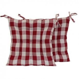 Cojín de silla cuadrada Mainstays de cuadros rojos con lazos, juego de