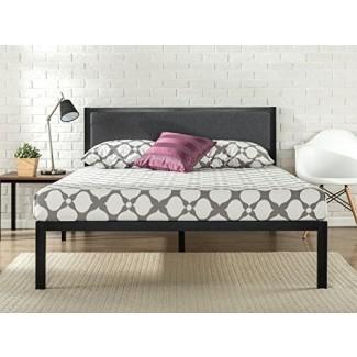 Zinus Estructura de cama de metal de plataforma de 14 pulgadas con cabecera tapizada / Base de colchón / Soporte de listones de madera