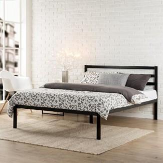 Zinus Modern Studio Plataforma de 14 pulgadas Estructura de cama de metal 1500H / Base de colchón / Soporte de listones de madera / con cabecero,