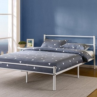 Cama de plataforma de metal blanco Zinus de 12 pulgadas con cabecero y pie de cama / Base de colchón