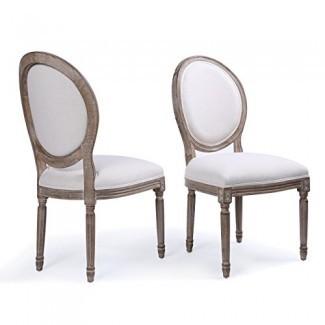 Belleze Conjunto de (2) sillas de comedor con respaldo redondo, clásico, elegante, de lino y tapizado, con patas de madera maciza, beige