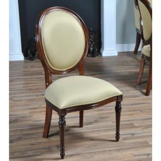 Silla lateral de caoba con respaldo redondo, muebles Niagara, macizo ...