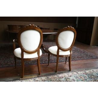 Sillas de comedor tapizadas, sillas con respaldo redondo de caoba