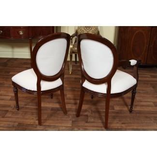 Sillas de comedor con respaldo redondo francés, sillas tapizadas con respaldo de camafeo