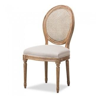 Baxton Studio - Silla auxiliar de comedor tapizada de tela beige con respaldo de bastón redondo de roble beige