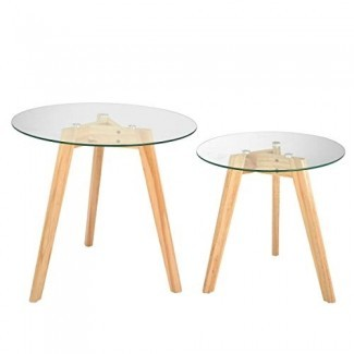 AdirHome Totally Natural Glass Top Tables en dos tamaños encaja en cualquier lugar
