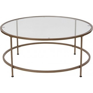 Mesa de centro contemporánea de vidrio templado con marco dorado mate - Incluye bolígrafo Modhaus Living