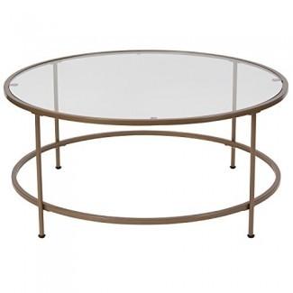 Flash Furniture Astoria Collection - Mesa de centro de vidrio con marco de oro mate