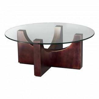 Mesa de centro circular de vidrio marrón