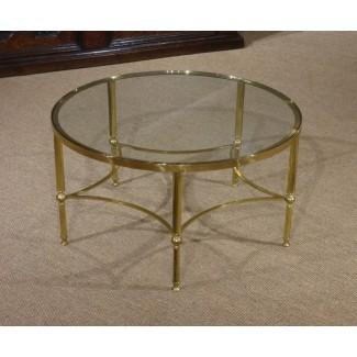 Mesita de vidrio circular, mesita redonda de vidrio .. .