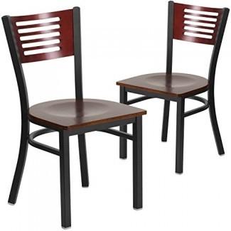 Silla de restaurante de metal con respaldo de listones negros Hercules Series - respaldo de madera de caoba, asiento de vinilo