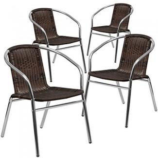 Silla apilable para muebles de interior y exterior de ratán comercial para muebles Flash