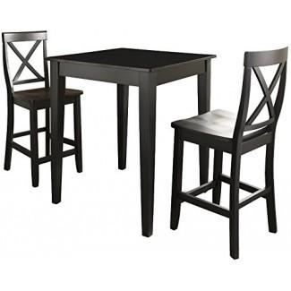 Juego de pub Crosley Furniture de 3 piezas con mesa de patas cónicas
