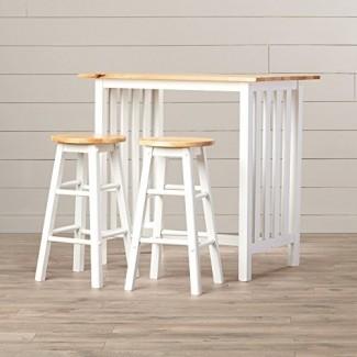 Juego de mesa de altura de mostrador - Muebles para pub o desayuno de 3 piezas para el hogar - Mesa y 2 sillas - Muebles de calidad - Blanco con tapa de madera de abedul natural