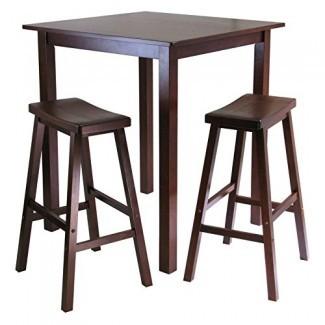 Winsome Parkland Juego de mesa cuadrada de 3 piezas con taburetes