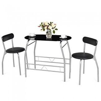 Juego de comedor Tangkula de 3 piezas Mesa de vidrio moderna con marco de metal y 2 sillas Juego de cocina para el hogar Bistro Pub Muebles de desayuno, negro y plateado