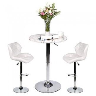 Pub Table Set 3 piezas - Mesa redonda de 24 pulgadas con 2 sillas de cuero sintético - Altura ajustable (Taburetes de bar blancos + Mesa de bar con rayas de mármol)