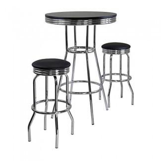 Winsome Summit Pub Table y 2 taburetes giratorios, 3 piezas