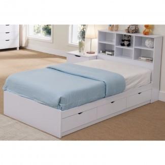Divito Sofisticada cama con plataforma de almacenamiento Twin Snow