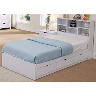 Cama BenzaraBenzara BM141870 Sofisticada cama doble con acabado en nieve y 3 cajones, blanco