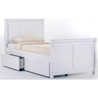 School House cama trineo doble blanco con almacenamiento, 7050NS ...