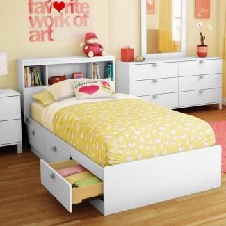 White Twin Storage Bed con 3 cajones y cabecero ...