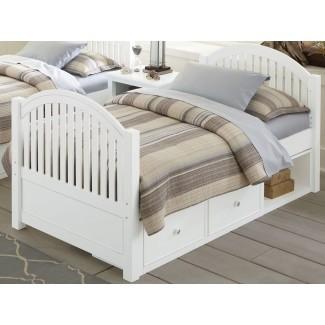 Lake House White Adrian Twin Panel Bed con almacenamiento de
