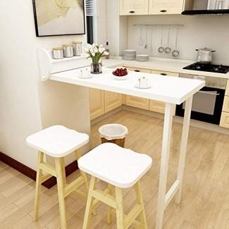 MBD Mesa de pared Mesa plegable de pared Mesa plegable de pared Mesa de comedor Escritorio convertible Mesa de madera maciza Blanco 108.1 51.8cm