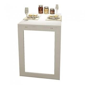 ERRU- Mesa plegable blanca montada en la pared, mesa auxiliar de pared Space Saver para cocina, comedor, estudio, escritorio de madera para colgar en la pared