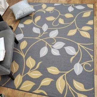 Hinman Floral, alfombra de goma, gris, con respaldo, área