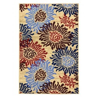 Toccoa Flowers - Alfombra moderna, antideslizante, con respaldo de goma, multicolores