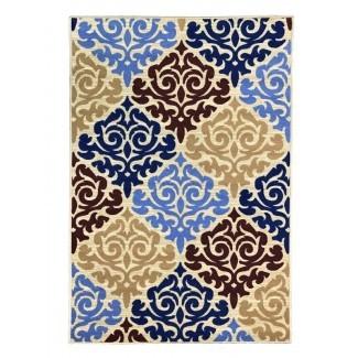 Toccoa Queen Damask, alfombra antideslizante, moderna, con respaldo de goma, multicolores